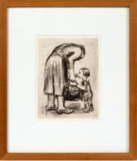 mother feeding child by käthe kollwitz