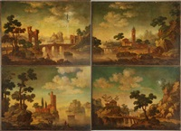 paesaggi fluviali con rovine (set of 4 works) by anonymous (18)