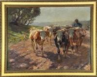 hirte mit kühen auf dem heimweg by r. alfred queck