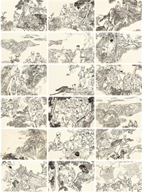 万山红遍(上)连环画 原稿(全) (original work of the comic book strip red-embraced mountain, vol. 1 (complete)) (140 works) by li weicheng and liu ergang