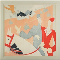 couple on horseback with reclining figure in background by constantin alajalov