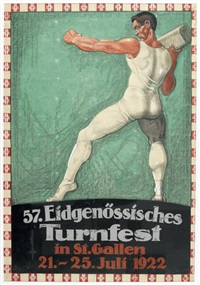 57. eidgenössisches turnfest in st. gallen (poster) by fritz brunnhofer