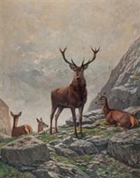 berglandschaft mit hirschen by wilhelm arnold