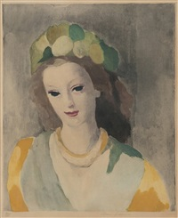jeune femme avec une toque de feuillage (sold with 251b; set of 2) by marie laurencin