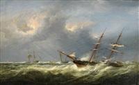fartyg på stormande hav by fritz siegfried george melbye