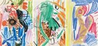 无题 (三幅一组) 蜡笔 (3 works) by wu dayu