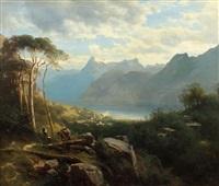 rast in den bergen mit blick auf einen gebirgssee by leopold heinrich vöscher