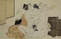 couple having sex, the woman offering a cup to her lover (ôban) (from koshuko zue yuni ko) by katsukawa shuncho
