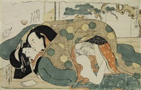 couple in erotic embrace (ôban) (from koshuko zue yuni ko) by katsukawa shuncho