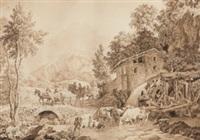 bachlandschaft mit mühle und reicher tier- und figurenstaffage by fanny aubert