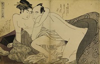 couple with eyes closed (ôban) (from imayo irokumi no ito (modern fashions of seduction)) by katsukawa shuncho
