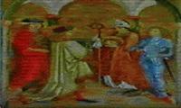 vier nothelfer in gewandern der renaissance, sie entstammen einer gruppe von 14 heiligen... by hans maler