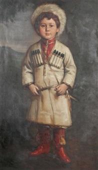 knabe in kosakischer uniform mit pelzmütze by rudolf weber