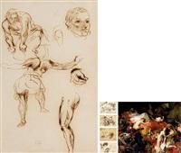 法国著名画家德拉克罗瓦《强健的侍从与柔弱的宫女》 素描创作稿 by eugène delacroix