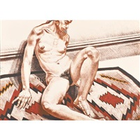nude on navajo rug by philip pearlstein