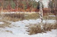 russisches birkenwäldchen im vorfrühling by mikhail georgievich kozell