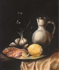 ocean perch, lemon, garlic, a jug and two wine glasses, on a silver platter by paul karslake