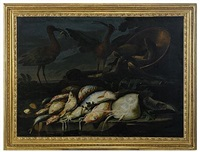 stilleben med fiskar och fåglar by elena recco