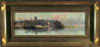 hafenstadt mit booten im abendrot by sidney pike