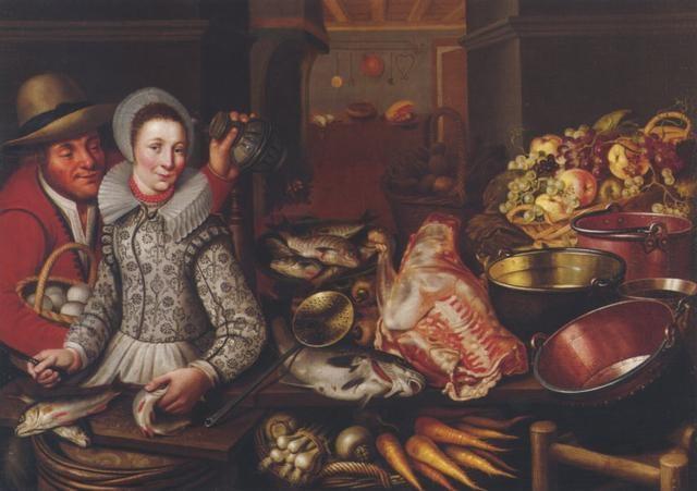 küchenstilleben mit einem mann und einer frau by cornelis jacobsz delff