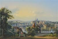 blick auf bern, mit der nydeggbrücke by johann ludwig (louis) bleuler