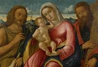 maria mit jesusknaben, johannes dem täufer und heiliger andreas by giovanni bellini