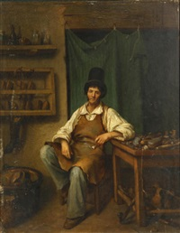 a cobbler in his shop by continental school (19)