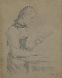 doppelseitige zeichnung: mädchen beim schreiben (double-sided) by albert anker