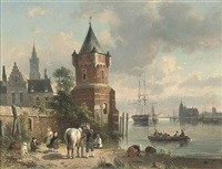 a coastal inlet with figures and a horse before a tower, a ferry beyond by jean (jan) michael ruyten