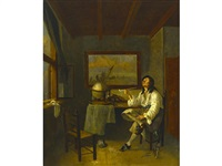 a man smoking a pipe in an interior by jacob duck