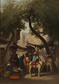 an arab market by charles théodore (frère bey) frère
