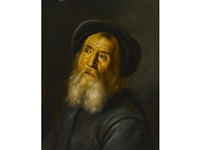 bearded man with a beret by jan lievens