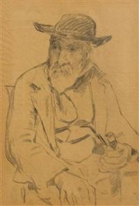 doppelseitige skizze: mann mit pfeife by albert anker