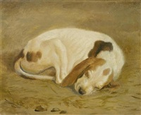 schlafende hunde (pair) by jacques-laurent agasse