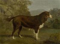 hundeporträt in einer landschaft by jacques-laurent agasse