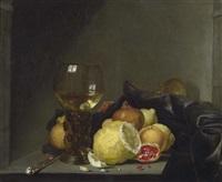 stilleben mit römer, silbermesser und zitrusfrüchten by simon luttichuys