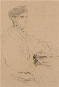pfeife rauchender alter mann am tisch / am tisch sitzender alter mann (verso) by albert anker