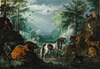 paradieslandschaft mit tieren und dem heiligen hubertus by roelandt savery