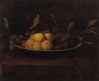 a still life with plums by paul liegeois