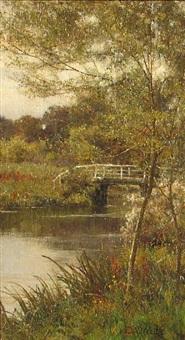 summer - a bridge over a stream by edward wilkins waite