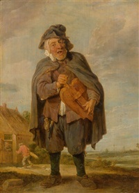 music making with a barrel organ by david teniers the younger