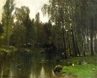 landskap med träd och spegling i stilla vatten by carl fredrik hill
