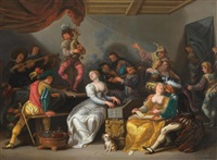 allegory of the five senses: interior with festive gathering by simon de vos