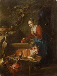 woman with a dog by a well by gerrit dou