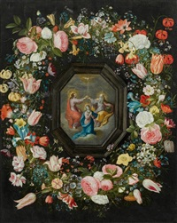 blumenkranz mit der krönung mariä in einer kartusche by frans francken the younger and andries danielsz