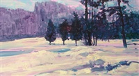winter landscape by louis b. sloan