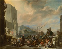 view of a harbour at sunrise by johannes lingelbach