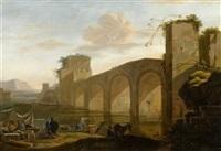 tiberlandschaft mit blick auf den ponte molle by jan asselijn