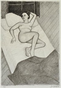 nude in bed by john brack