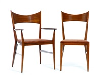 dining suite (table, 2 armchairs, 2 side chairs; 5 works) by paul mccobb